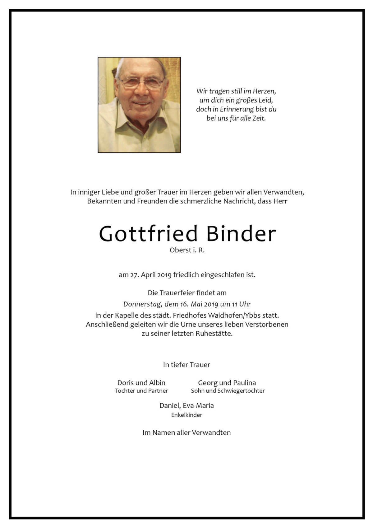Gottfried Binder, Oberst i. R.
