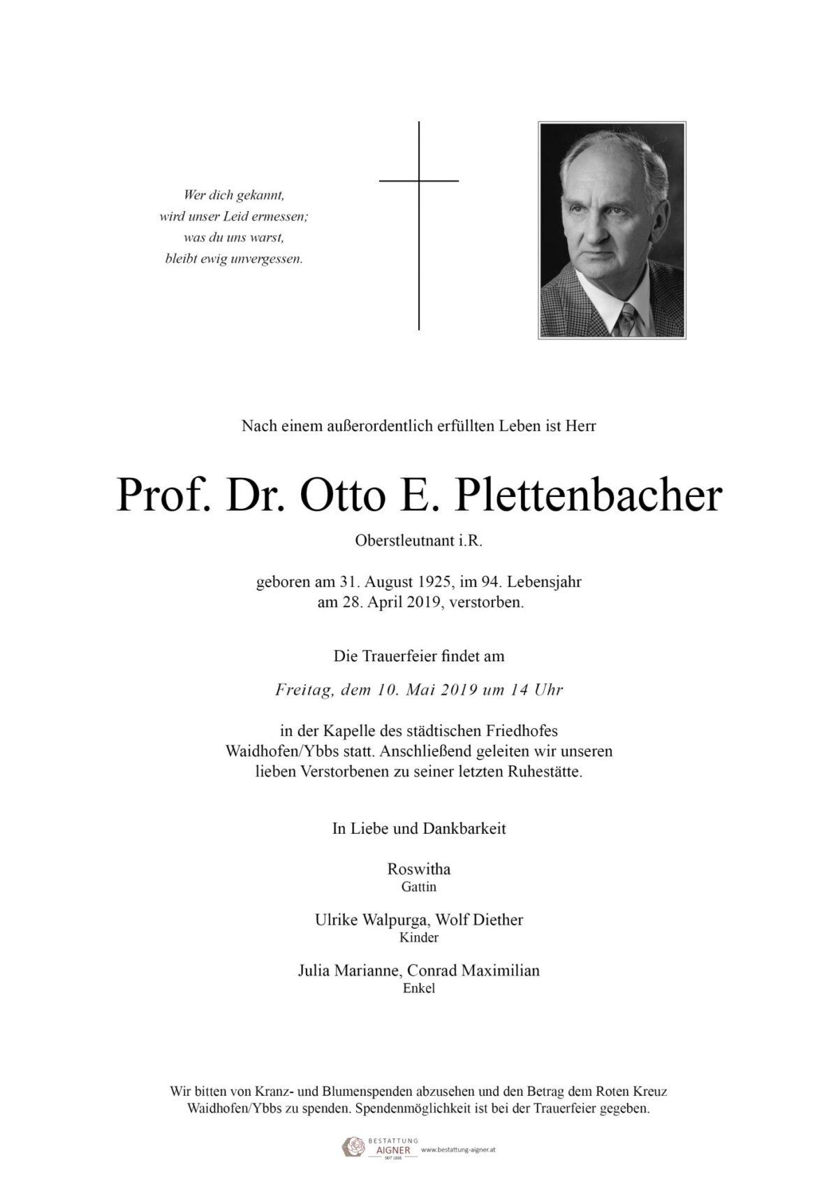 Prof. Dr. Otto Plettenbacher