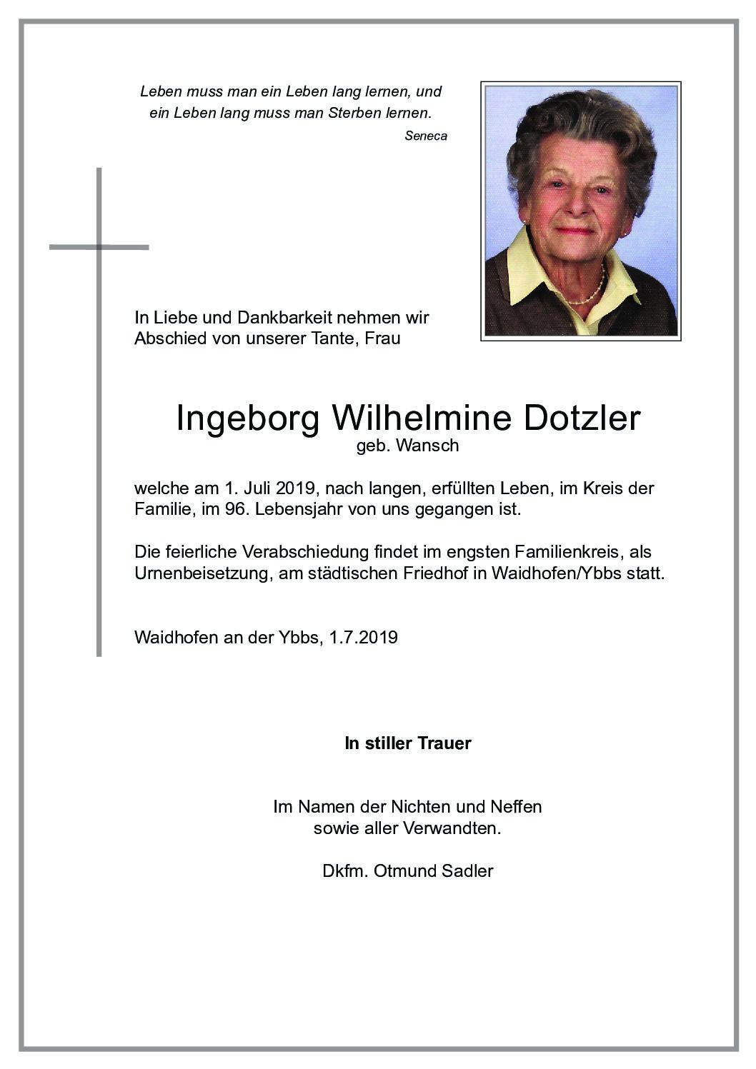 Ingeborg Wilhelmine Dotzler