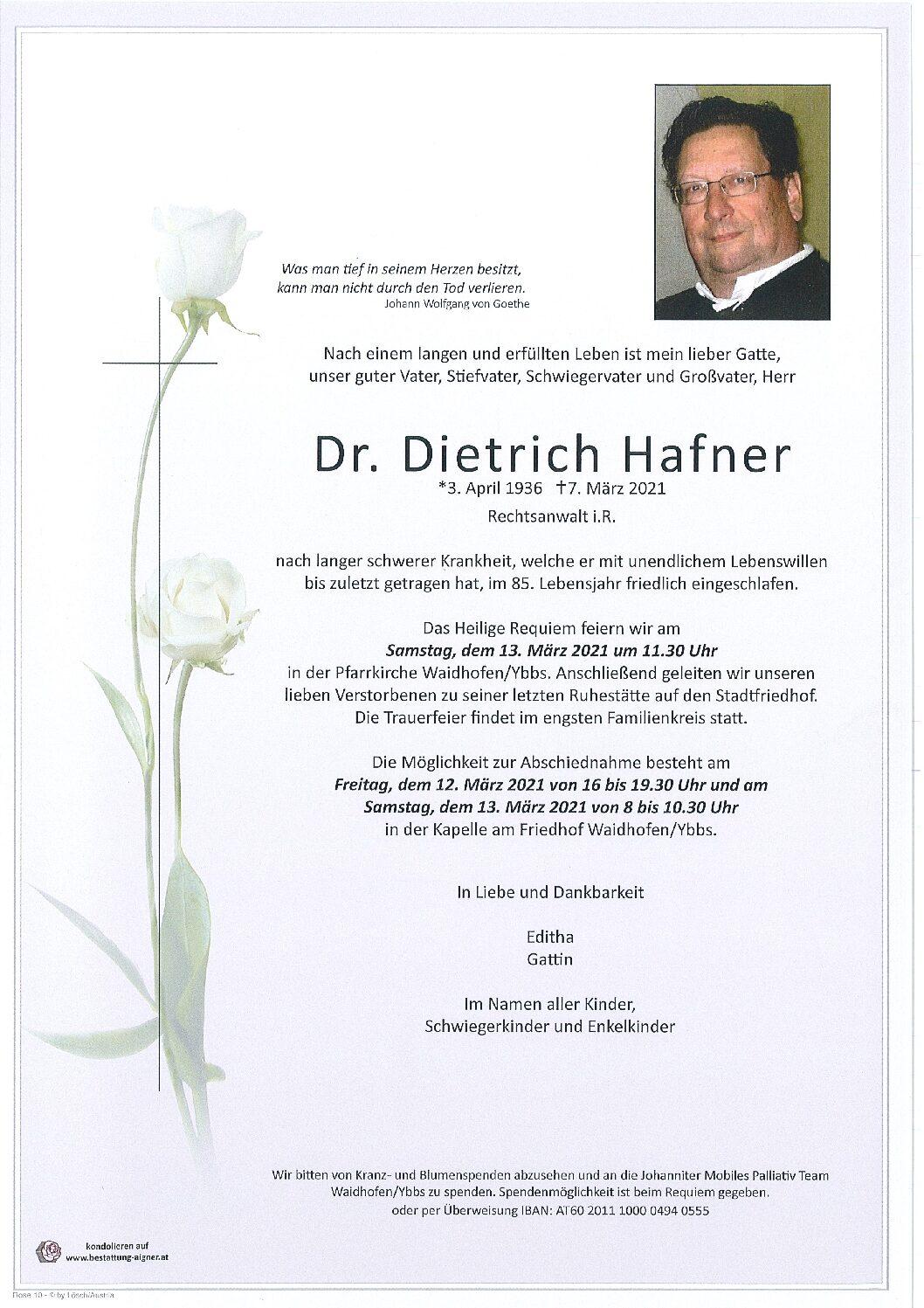 Dr. Dietrich Hafner